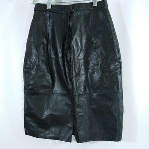 Black Leather Pencil Skirt Size 9/10 Vintage